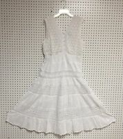 Women Missy Size Cotton White Sleeveless Boho Peasant Crochet Lace Dress NWT.
