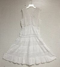 Women's Plus Size Cotton White Sleeveless Boho Peasant Crochet Lace Dress NWT.