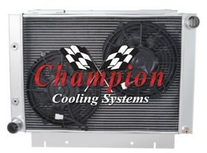 """4 Row Aluminum Champion Radiator W/ 2 10"""" Fans for 1960 61 62 1963 Ford Galaxie"""