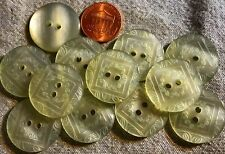 """12 Pearlized Pale Greenish Grey Carved Plastic Sewthrough Buttons 7/8"""" 23mm 4900"""