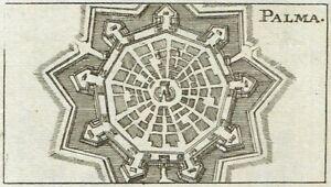 PALMANOVA Rara Pianta 1692 RIEGEL Stampa Antica Mappa ORIGINALE Friuli