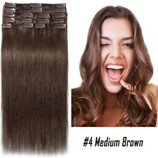 Thick Clip in Remy 100% Malaysian Human Hair Extensions Full Head Straight P727