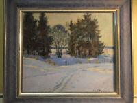 Alexander Iljitsch Fomkin (1924-1999) Ölgemälde Winterlandschaft Russland 1983