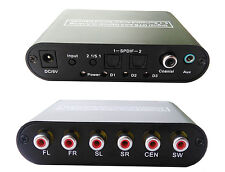 Converter Digital Optical Audio To 5.1/2.1 Channel Stereo Analog AC3/DTS RCA
