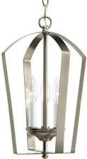 Foyer Pendant 10 in. Dia x 16 in. H 3-Light Candle-Style Brushed Nickel Finish