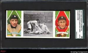 1912 Hassan Triple Folders T202 #3 Desperate Slide O'Leary Ty Cobb SGC AUTHENTIC