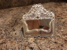 New Ornate Fancy Silver Tone Metal Business Card Holder