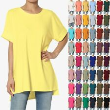 TheMogan S~XL Casual Round Neck Rolled Short Sleeve Loose fit Tunic Top Tee