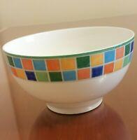 Villeroy and Boch Twist Alea Limone Bowl White with Color Blocks Checks