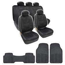 BDK Seat Covers & Mats Black PU Leather Seat Covers & Black 3 Piece PVC Mats