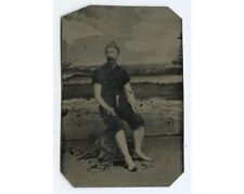 1850S TINTYPE OF MAN IN EARLY BATHING SUIT W/ LIGHTHOUSE IN BKGD 1/6 PLATE