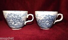 Lot 2 Vintage Blue & White Tea Coffee Cups Mugs Made in England Country Scene