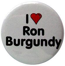 I Heart Ron Burgundy 25mm (1 inch) badge. Fun Anchorman printed slogan badges.