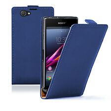 Ultra Slim Azul Cuero Funda Para Sony Xperia Z1 COMPACT D5503 Experia