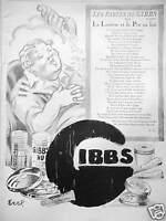 PUBLICITÉ PRESSE 1929 GIBBS SAVON LES FABLES LA LAITIÈRE ET LE POT AU LAIT  EREL
