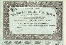 France Bellecombe Abbey Products Company stock certificate 1900