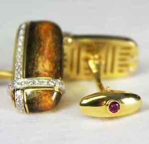 $5,400 ROBERTO COIN Diamond 18K Gold Tiger Eye CuffLink Men Holiday Gift ITALY