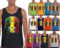 Rasta Lion Tank Top Smoker Rave Headphone  Jamaica Colors Tank Top Tee