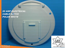 50 AMP ELECTRICAL CABLE HATCH FOR  RV, MOBILE, CAMPER POLAR WHITE