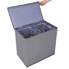 Grey Foldable Double Laundry Hamper Clothes Basket with Lid and Removable Liners