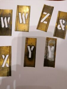 """67x 1"""" Vintage Brass Stencil Letters, Alphabet + numbers. Whiskey barrel. BE"""