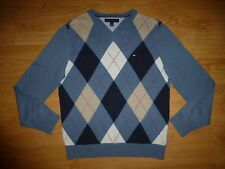 Men's Tommy Hilfiger Thin Heather Blue Argyle V Neck Cotton Jersey Jumper Top M
