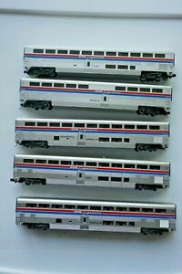 N-Scale Kato Amtrak Super Liner Lot of 5 set Sleeper Coaches Dining