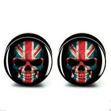 Ear Plug Tunnel Union Jack GB Skull Acrylic Screw Fit Flesh 6-25mm
