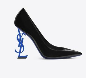 Yves Saint Laurent Blue Opyum 110 Heels NEW WITH TAGS Black Patent Leather EU 41