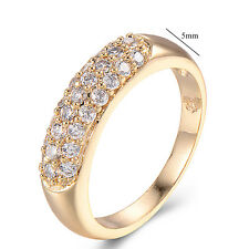 Charm 14K Yellow Gold Filled Clear CZ Fashion Ring Size 7 Wedding