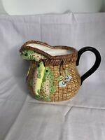 Vintage 3-D Creel Pitcher. Fly-fishing basket pitcher. Wang's Rare