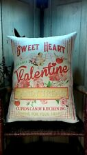 Old Vintage Antique Victorian Style Valentine Cupids Candy Kitchen Treats Pillow