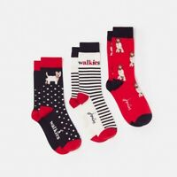 Joules BRILL BAMBOO Ladies Womens Warm 3 Pack Socks Cream Dog Walk: One Size