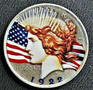 1922 United States Peace Silver Dollar with coloured decal