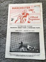 MANCHESTER UNITED V SUNDERLAND FA YOUTH CUP 3rd ROUND 1962/3