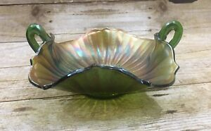 "Carnival Glass Nappy Ruffled Rim Green Purples Golds Iridescent 7"""