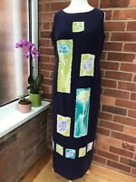 Country Casuals 16 Dress 100% Silk Long Navy Floral Races Cruise Sleeveless i3
