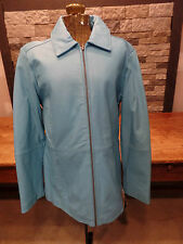 Excelled Collection Leather Jacket Turquoise Full Zip Women's L NWT $94