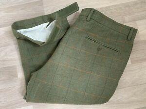 ALAN PAINE Men's Green Wool Tweed Check Breeks Shooting Trousers (42)