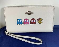 NWT Coach Ms.Pac-Man Ghosts Large Pebbled Leather Phone Wallet Wristlet Limited