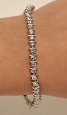 "18k Round Cut Diamond 7.25"" White Gold Finish 1Ct Engagement Tennis Bracelet"
