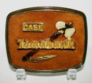 *Case Tomahawk Trademark Logo Brass Belt Buckle Construction 1978 Collectible