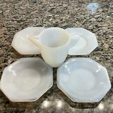 Lot/5 VTG Akro Agate Glass White Octagon Child Toy Dishes Plates Stacked Teapot