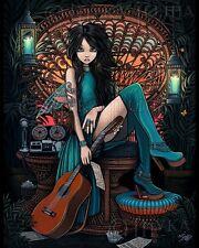 Bohemian Fairy Song Writer Musical Peacock Chair Aria Signed Myka Jelina Print