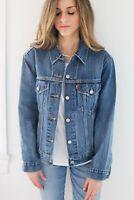 Levi Strauss Women S Ex-Boyfriend Trucker Sequin Groovemark Blue Jean Jacket NEW