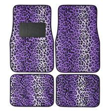 Purple Leopard Print Car Truck SUV Front Rear Premium Carpet Floor Mats 4pc Set