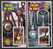 Somalia, 2002 Cinderella issue. Trains of India on 2 s/sheets. Rotary logo.