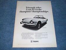 "1969 Triumph Spitfire Mk3 Vintage Ad ""Triumph Takes 3 out 5...Championships"""