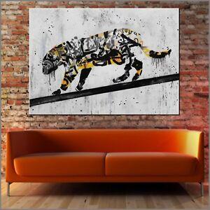 Banksy Street Art Graffiti Tiger Funky Big Cat 140cm x 100cm Textured Painting