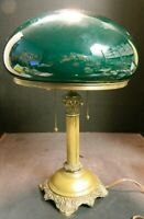 Antique Bradley & Hubbard #43 Footed Lamp Base w/ Emeralite Cased Mushroom Shade